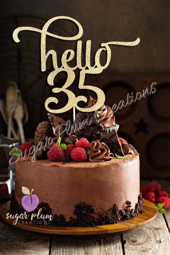 Incredible Any Number Gold Glitter Hello 35 Cake Topper 35Th Birthday Etsy Personalised Birthday Cards Sponlily Jamesorg
