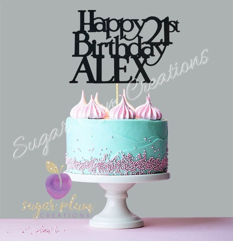 Any Number Glitter Personalized Happy Birthday Cake Topper