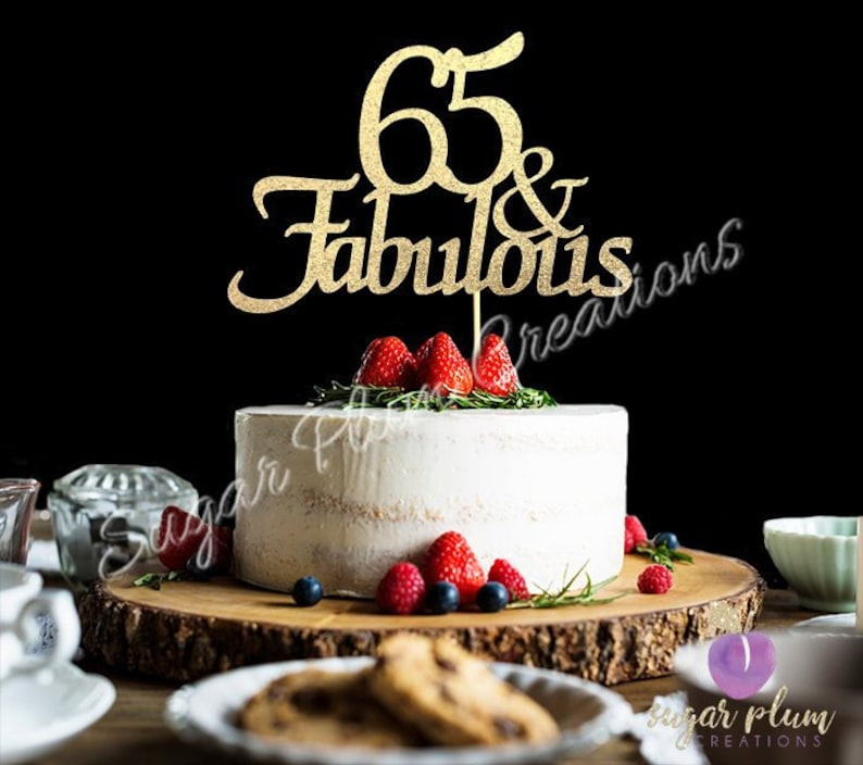 ANY NUMBER Gold Glitter 65th Birthday Cake Topper 65 And