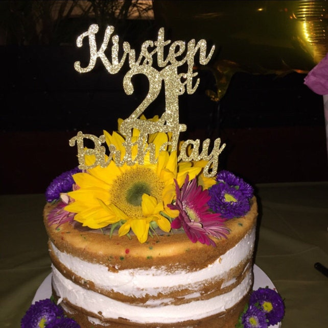 ANY NAME NUMBER Gold Glitter 21st Birthday Cake Topper 21 And Fabulous Customized