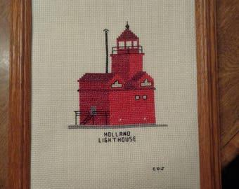 Cross Stitch Picture  Holland Mi..  Lighthouse