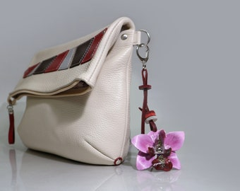 8604b262a6b5 Leather bag charm handbag decoration molded handpainted leather orchid 7