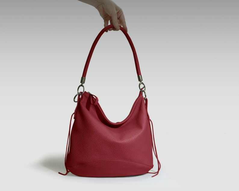 b58445943b Red Leather hobo bag women s handbag crossbody leather