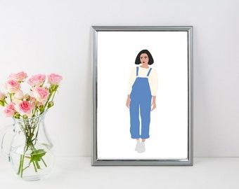 Girl Oversize Jumper Print | Illustration | Art Print