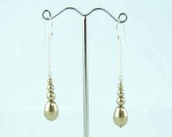 Earrings for Woman - Golden Earrings - Bronze Earrings - Sterling Silver Earhooks - Swarovski Beads