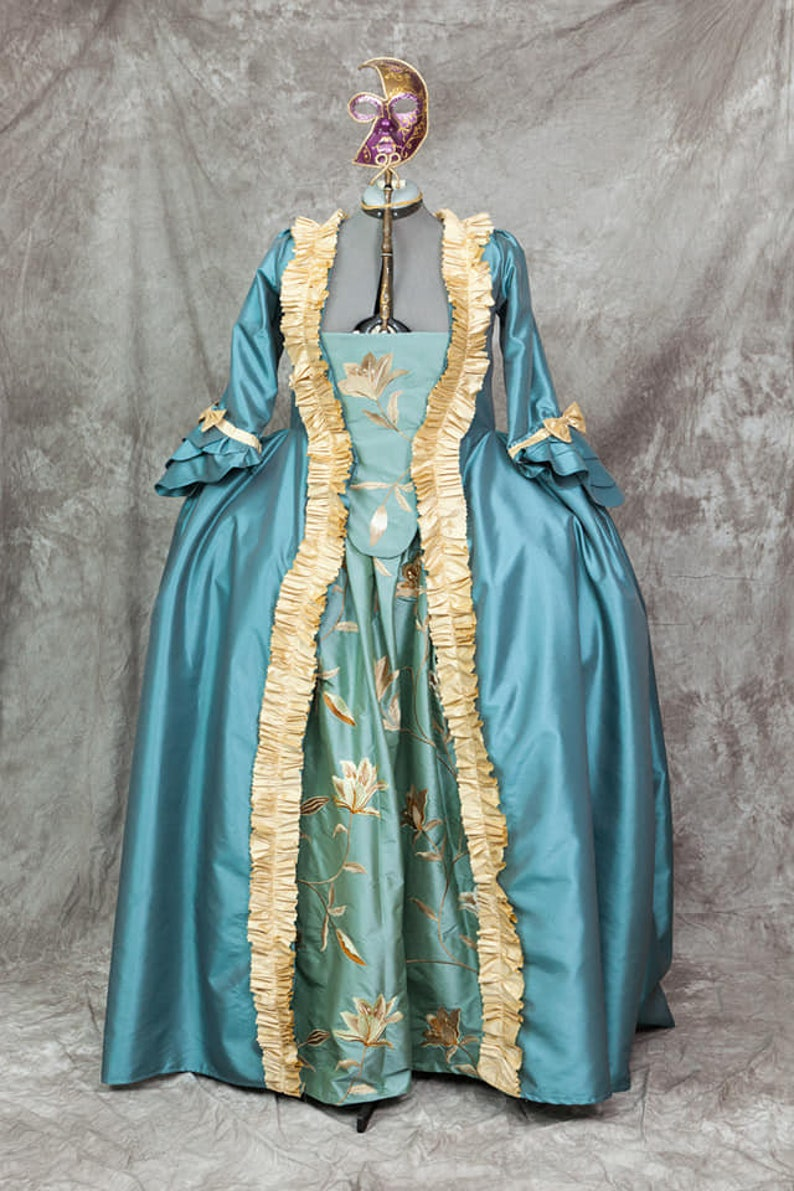 Masquerade Ball Clothing: Masks, Gowns, Tuxedos Robe a la francaise Rococo Dress Saque Gown Custom Sized $424.31 AT vintagedancer.com