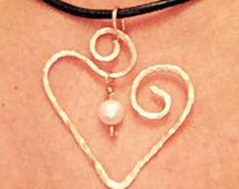 Copper Swirled Heart with Swarovski Pearl