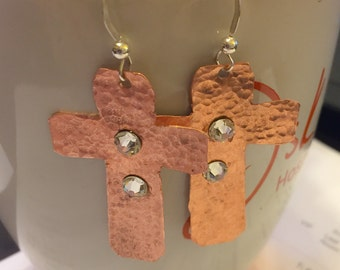 Copper Hammered Cross Earrings embellished with Swarovski Earrings