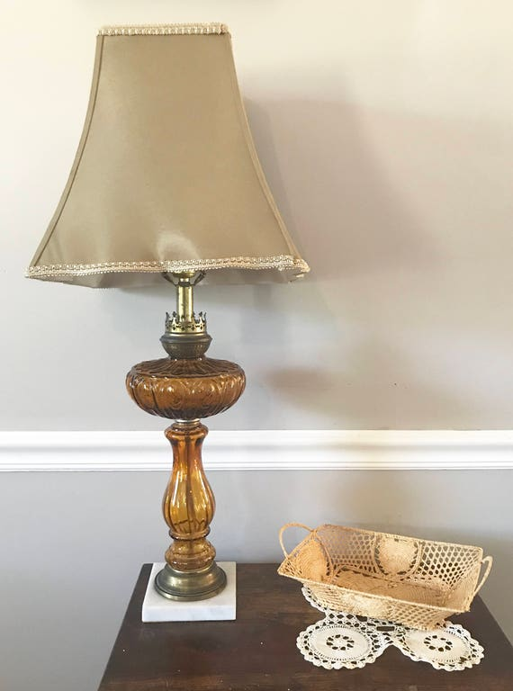 Amber Glass And Brass Table Lamp Vintage Amber Table Lamp Retro Amber Glass Table Lamp Amber And Brass Lamp