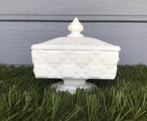 Westmoreland Milk Glass Candy Dish Quilted Pattern Candy Dish Etsy
