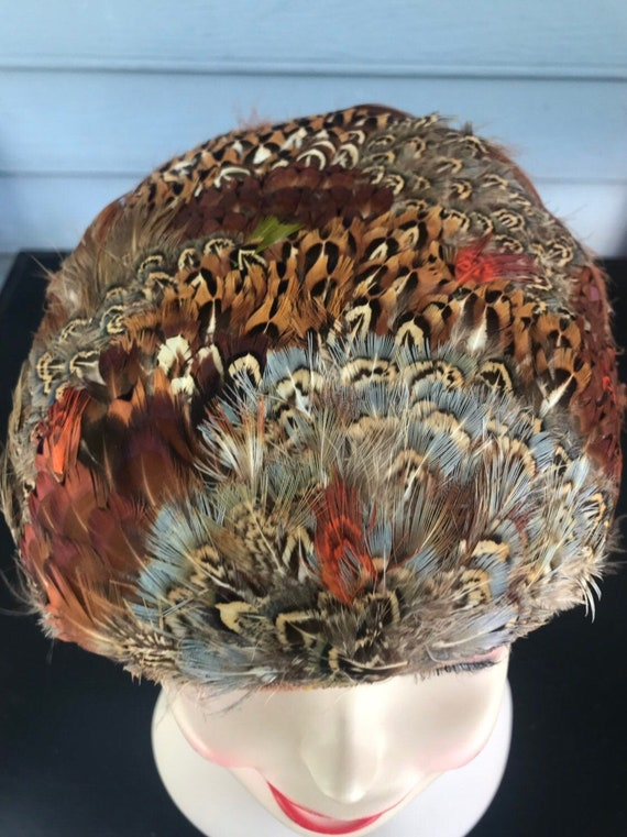 Pheasant Feather Hat, Feathered  Hat, Vintage  Hat