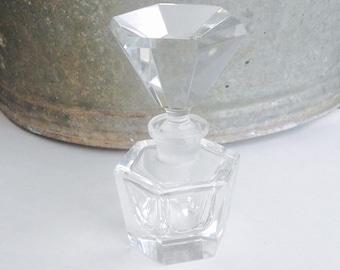 Glass Perfume Bottle, Vintage Perfume Bottle, Crystal Perfume Bottle, Vintage Glass Bottle