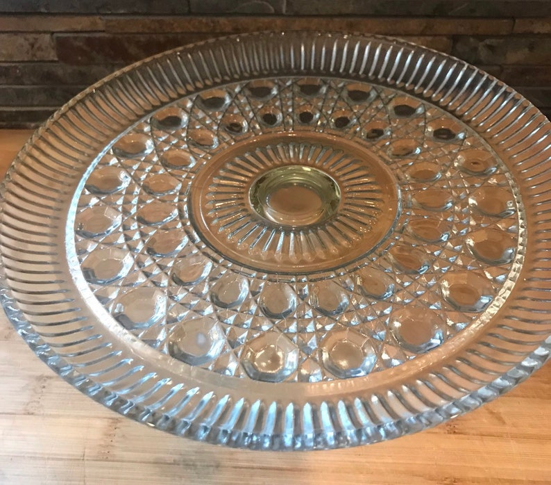 Vintage  Cake Plate Cake Plate With Glass Dome Top Federal Glass Windsor Clear Cake Plate Vintage  Glassware