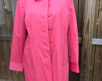 Vintage INC Bright Coral Coat, Pink Jacket, Lightweight Fall Coat, Windbreaker, Trench Coat , Outerwear