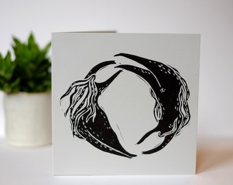 Eternal Circle- handprinted linocut card