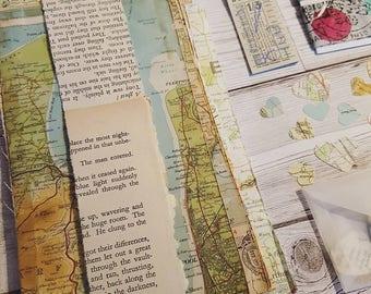Travel map and ephemera - vintage sheet map - tickets - washi tape - junk journal, smash book, scrap book materials