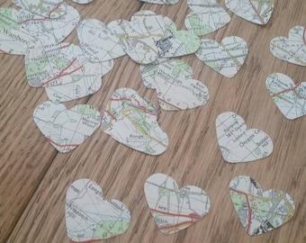 Map heart embellishments -  medium sized heart confetti - Vintage maps