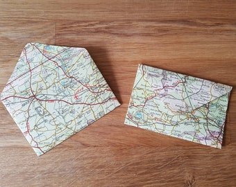 5 Vintage envelopes - map, book or music - wedding supplies - junk journal - scrapbook ephemera