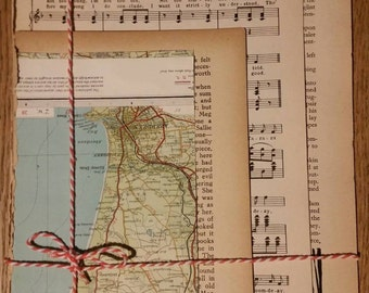 Vintage junk journal kit, paper bundle, vintage map, book pages and sheet music, for scrapbooking and paper crafts