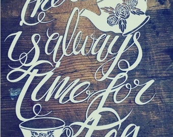 Tea papercut template, Personal licence, always time for tea