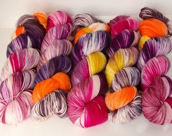 Hand dyed yarn 'Cherry On Top' sock weight yarn for knitting and crochet Rhapsodye Yarns superwash merino / nylon
