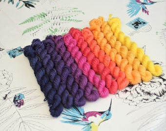 Hand dyed Gradient Sunset Mini Skein Set - sock weight yarn for knitting and crochet by Rhapsodye Yarns