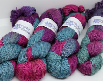 Hand dyed yarn 'Charmed' sock / 4 ply weight yak / silk merino yarn for knitting and crochet Rhapsodye Yarns