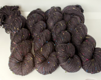Hand dyed yarn 'rainbow death' sock weight yarn for knitting and crochet Rhapsodye Yarns superwash merino