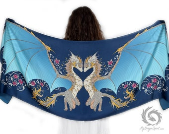 Blue Love Dragons Silk Scarf