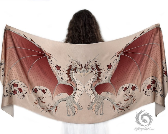 Brown Love Dragons Silk Scarf