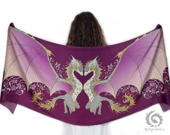 Love Dragons Pink Silk Scarf