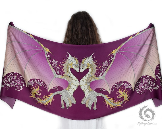 Pink Love Dragons Silk Scarf