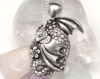 Floral dragon spirit necklace