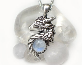 Dragon necklace with moonstone
