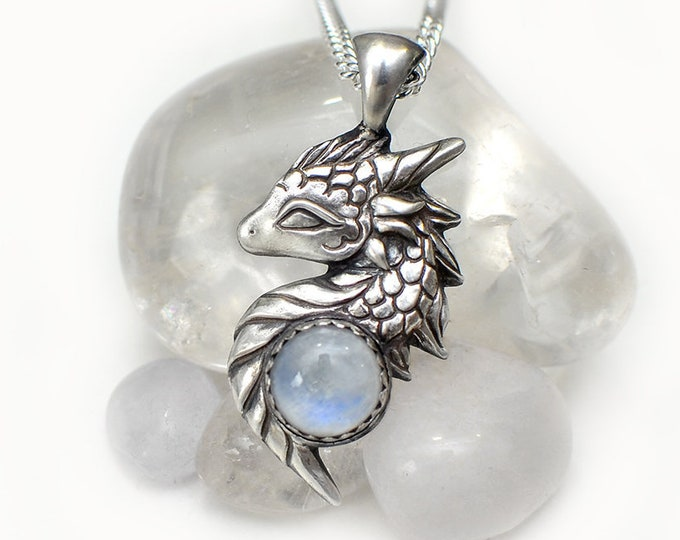 Featured listing image: Dragon necklace with moonstone