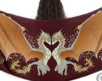 Red Love Dragons Silk Scarf