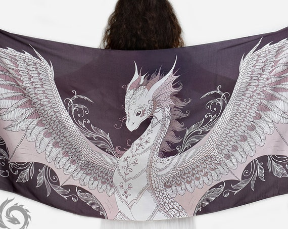 Phoenix dragon viscose scarf