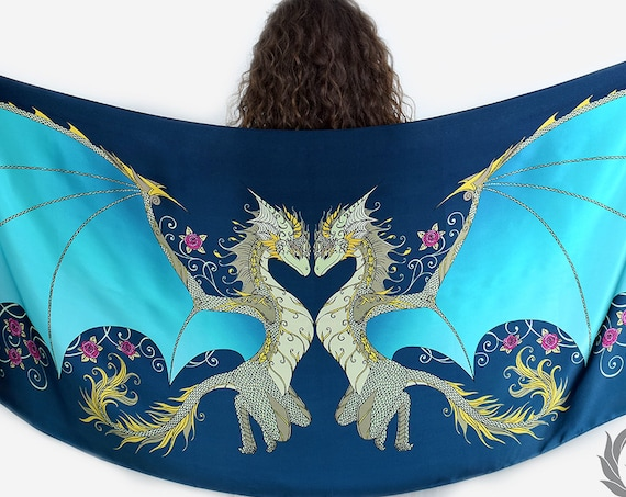 Blue Love Dragons Scarf with Roses