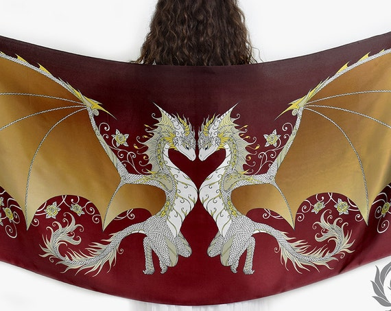 Love Dragons Scarf with Magical Golden Wings