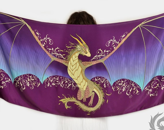 Silk scarf with a fairy dragon wings