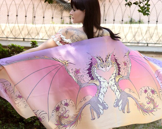 Sunset Love Dragons Scarf with Roses