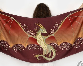 Fire dragon wings silk scarf