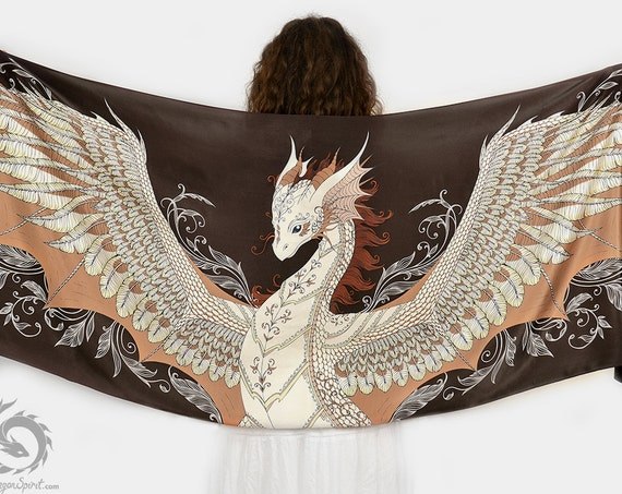 Brown silk scarf with a phoenix dragon wings