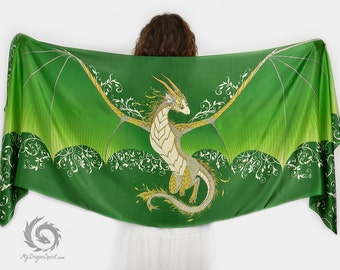 Green silk scarf with a dragon