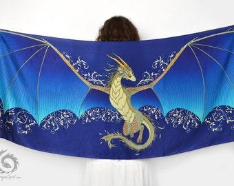 Blue dragon wings silk scarf