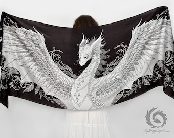 Black phoenix dragon silk scarf