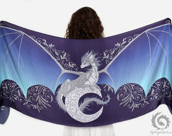 Moon dragon silk scarf