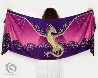 Purple dragon silk scarf