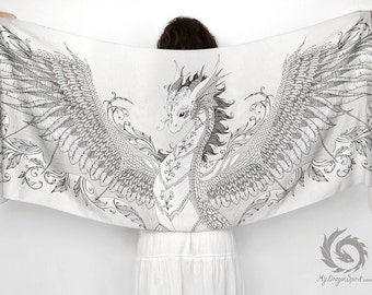 Silk scarf with a white phoenix dragon
