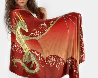 Red dragon wings silk scarf